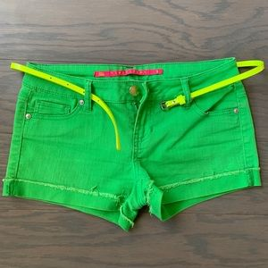 Tinseltown Green Jean Shorts with Belt